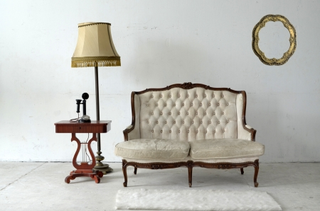leather sofa in white room  photo