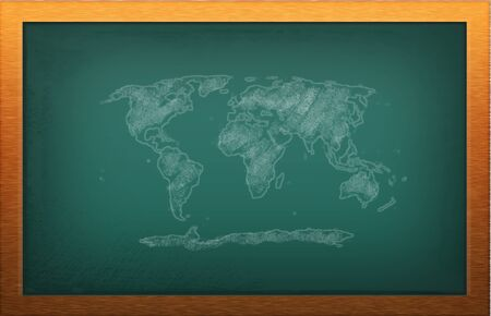blackboard with world map photo