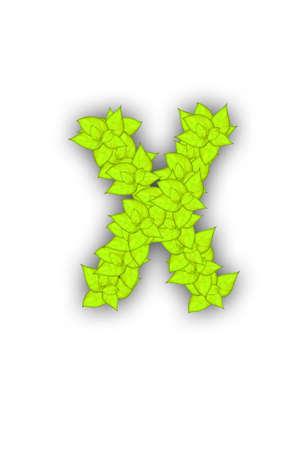 saturate: leaf alphabet font Stock Photo