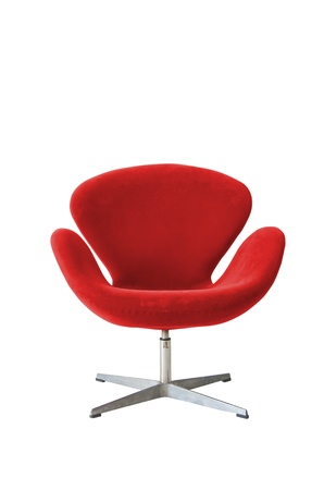 Modern chair in metal and red fabric  photo