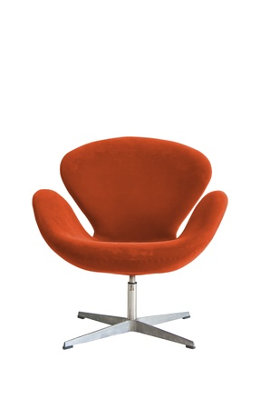 Modern chair in metal and orange fabric
