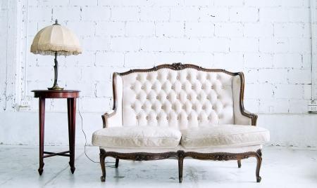 vintage luxury armchair in white room  photo