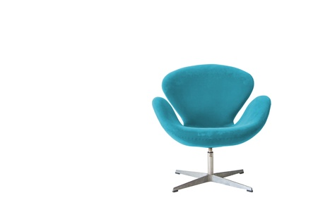Modern chair in metal and soft blue fabric