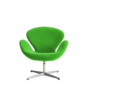 Modern chair in metal and green fabric