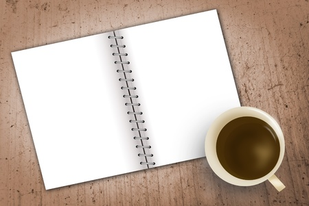 notebook and cup of coffee  photo