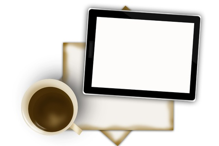 digital tablet and coffee cup  Stock Photo - 15445142