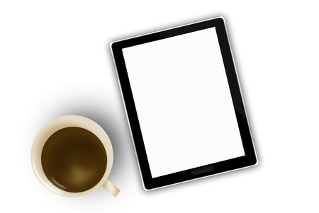 digital tablet and coffee cup  photo