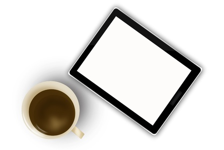 digital tablet and coffee cup  Stock Photo - 15445139