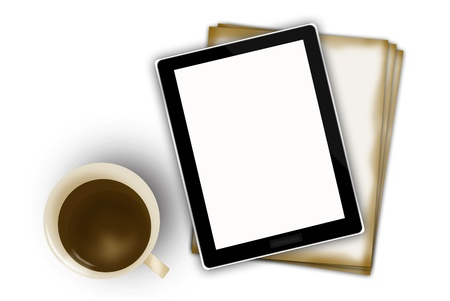 digital tablet and coffee cup Stock Photo - 15445143