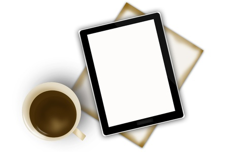 digital tablet and coffee cup Stock Photo - 15445141