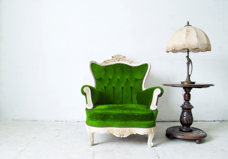 antique chair: Luxurious armchair in white background