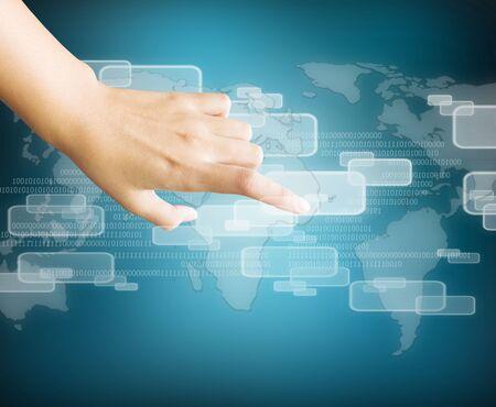 hand touching virtual screen Stock Photo - 16110639