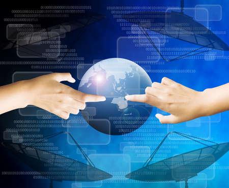 hand touching virtual screen Stock Photo - 16110649