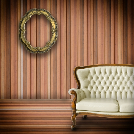 Vintage room  and old fashioned armchair