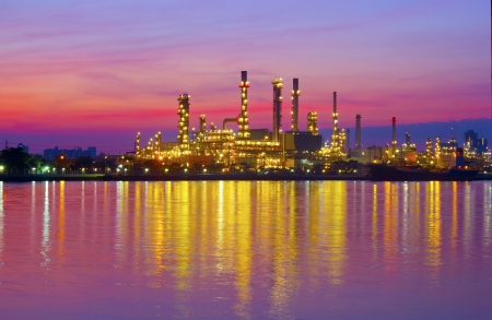 oil refinery plant at twilight morning  写真素材