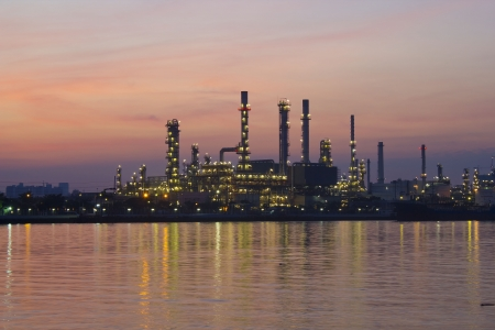 oil refinery plant at twilight morning  Stock Photo