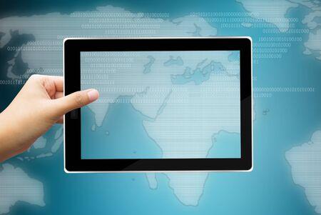 hand touching virtual screen Stock Photo - 16727763