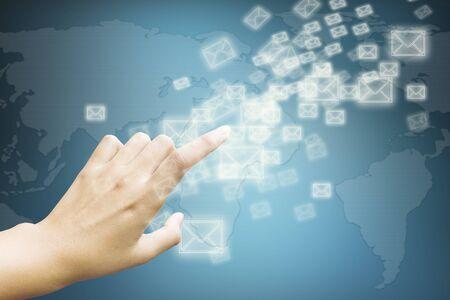 hand touching virtual screen Stock Photo - 16727772