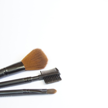 makeup brush and cosmetics, on a white background isolated, with clipping path Stock Photo