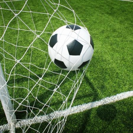 soccer goal: soccer ball in goal Stock Photo