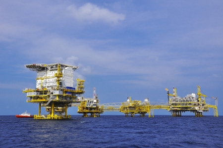 offshore oil rig drilling platform off the gulf of thailand
