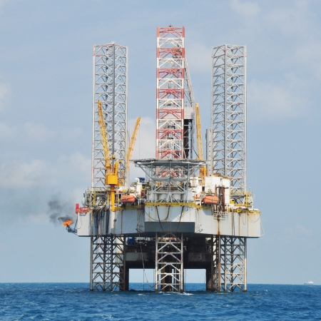 texas tea: offshore oil rig drilling platform off the gulf of thailand