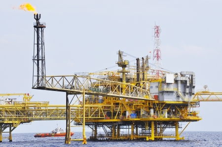 drilling well: offshore oil rig drilling platform off the gulf of thailand