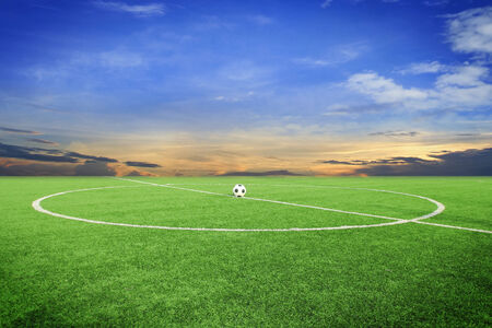 ballsport: soccer ball on soccer field with blue sky