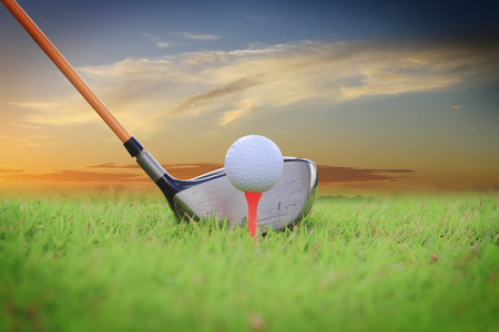 Golf club and ball in grass photo