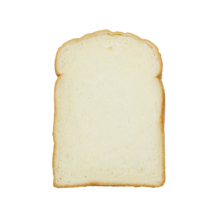 food stuff: slice of white bread against the white background Stock Photo