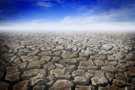 dry land: Dry land with blue sky