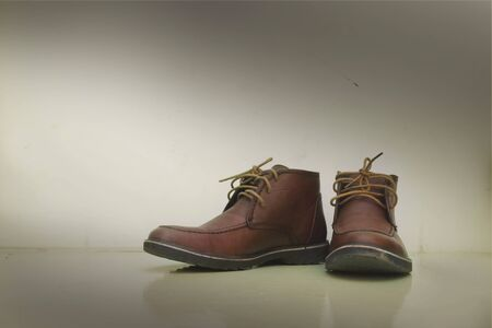 Pair of old brown working boots photo