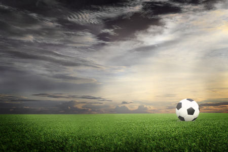 ballsport: soccer field with sun set