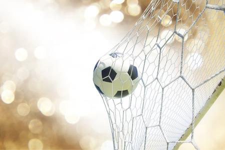 soccer net: soccer ball in goal Stock Photo