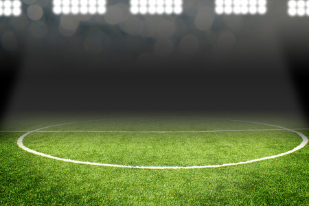 ballsport: Soccer ball on field in stadium