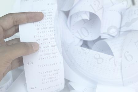 cash receipt: Cash Register, Receipt, Retail with soft focus. Stock Photo