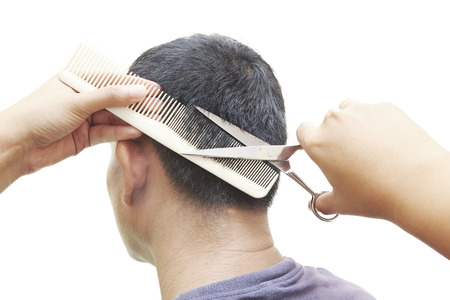 haircut: Man at the hairdresser getting a haircut