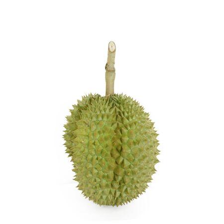 白い背景の上月ひドリアンの果実