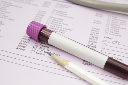 Form to fill in the results of biochemistry blood tests Stock Photo