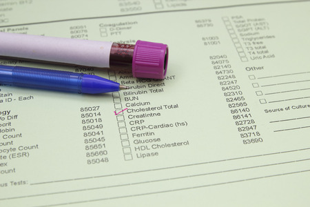 fill in: Form to fill in the results of biochemistry blood tests Stock Photo