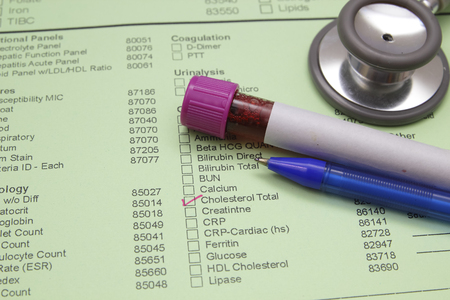 sample tray: Form to fill in the results of biochemistry blood tests Stock Photo