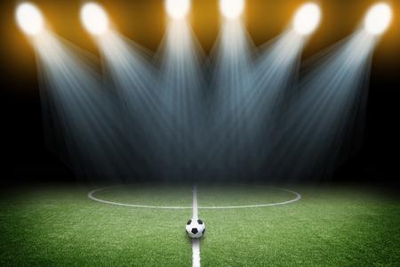 スポット ライトのサッカー場 写真素材