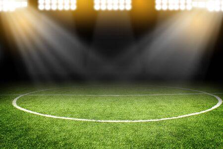 スタジアムのフィールドでサッカー ボール