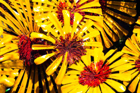 plastic made: Flowers made of painted plastic packaging