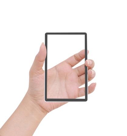 Mano femminile di tenere carta, telefoni cellulari, tablet PC o altri gadget di palma, isolato su bianco Archivio Fotografico
