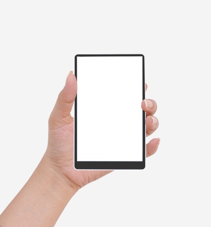 handheld: Hand  female to hold card, mobile phone, tablet PC or other palm gadget, isolated on white Stock Photo