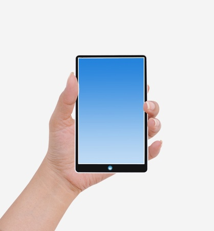 interdigital: Hand  female to hold card, mobile phone, tablet PC or other palm gadget, isolated on white Stock Photo