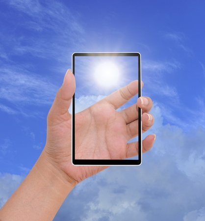 Hand female to hold card, mobile phone, tablet PC or other palm gadget Stock Photo - 10540496