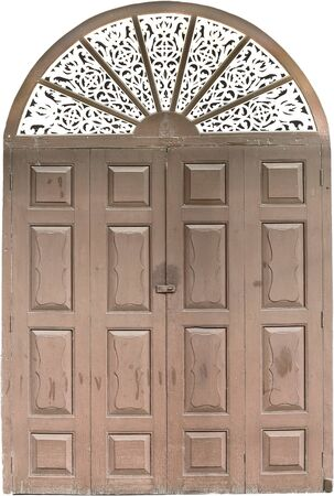vintage wooden door. Isolated over white  photo