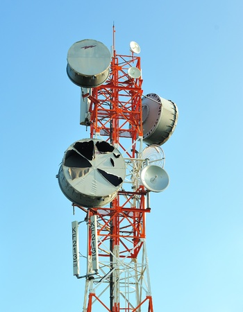 Telecommunication tower with antennas  photo